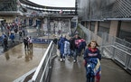 Twins fans left Target Field after Monday's game was postponed.