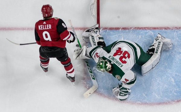 Wild goalie Kaapo Kahkonen stopped a shot by Arizona's Clayton Keller during a game March 16 at the X.