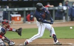 Twins catcher Mitch Garver took a first inning swing on Tuesday.