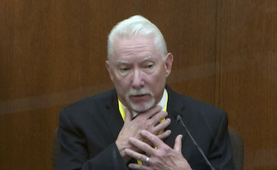 In this image from video, Barry Brodd, a use of force expert, testified Tuesday in the trial of former Minneapolis police officer Derek Chauvin.