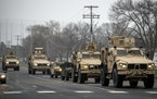 National Guard vehicles on the streets of Brooklyn Center, Minnesota. A rally was held in response to the death of Daunte Wright, in Brooklyn Center o