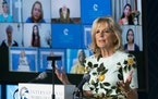 First lady Jill Biden speaks at the 2021 International Women of Courage (IWOC) Award virtual ceremony hosted by Secretary of State Antony Blinken at t