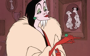 Being a literal cartoon makes Cruella de Vil glamorously awful.