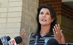"""Former South Carolina Gov. Nikki Haley praised Michelle Fischbach for having a """"proven track record of putting Minnesota's families and farmers fi"""