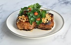 Peanut Pork Chops With Chile Herb Salad. Meredith Deeds • Special to the Star Tribune