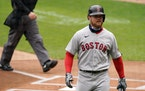 Boston Red Sox third baseman Christian Arroyo (39) reacted after he was called out on strikes in the first inning.