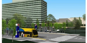 This rendering of the planned Gold Line shows what a bus-rapid transit vehicle and station could look like. ORG XMIT: MIN1810191313468393