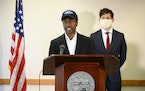 Brooklyn Center Mayor Mike Elliott and Minneapolis Mayor Jacob Frey, at a press conference in 2020 where they called for an overhaul in arbitration fo