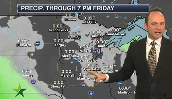 Evening forecast: Low of 35; plenty of clouds but starting to dry out