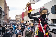 Photo by Alex KormannProtesters demanding an end to police violence against Black citizens marched Wednesday in downtown Duluth.