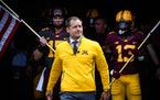 Gophers coach P.J. Fleck led the team onto the field for the 2017 spring game at TCF Bank Stadium.