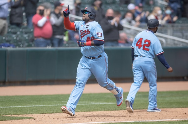 Miguel Sanó rounded third after hitting an upper-deck home run in the sixth inning.