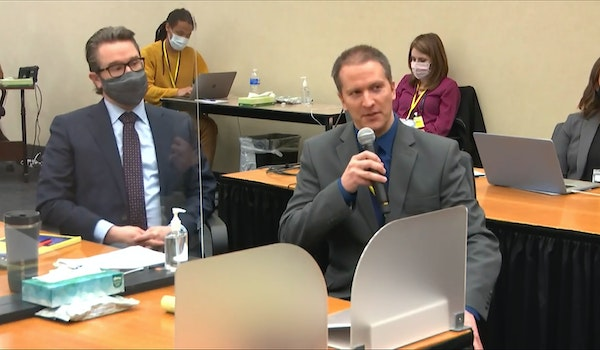 Former Minneapolis police officer Derek Chauvin, right, addressed the judge during motions before the court on April 15.