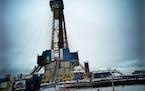 A rig was drilling three new wells in North Dakota.