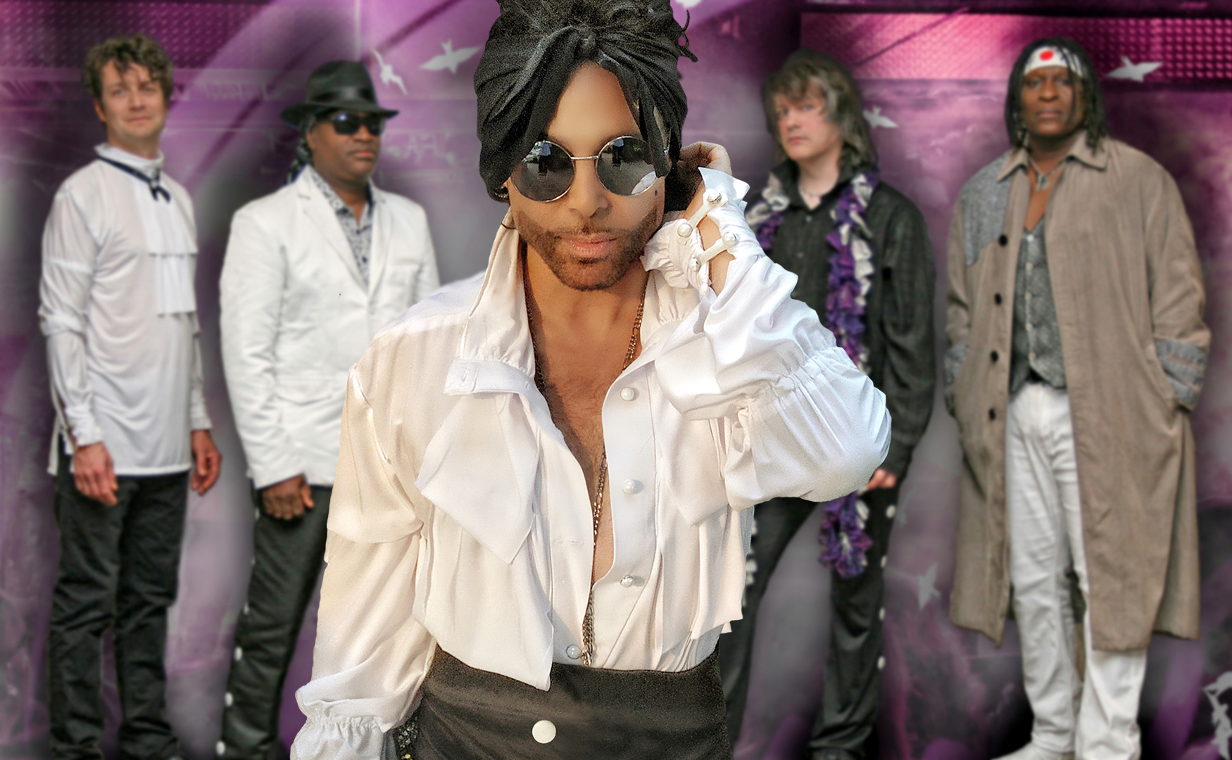 Marshall Charloff, center, is a singer and songwriter who also fronts the Prince tribute group, Purple Xperience.