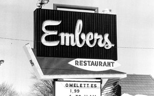 An Embers sign in 1978 boasted early morning specials.
