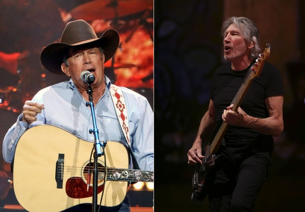 George Strait, left, is now due in November in Minneapolis, while Roger Waters is delayed until July. 2022.