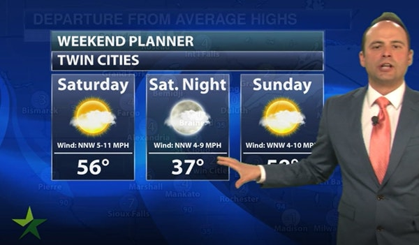 Evening forecast: Low of 40; partly and mostly cloudy ahead of a warmup