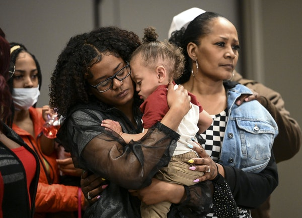 Chyna Whitaker embraced her son, Daunte Wright Jr., during a press conference addressing the death of Daunte Wright Friday. ] AARON LAVINSKY • aaron