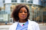 Dr. Dionne Hart poses for a portrait outside of Hennepin County Medical Center Saturday, April 10, 2021.