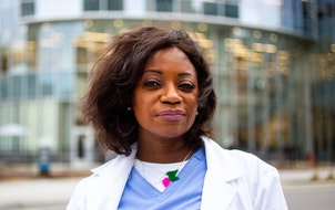 Dr. Dionne Hart, outside of Hennepin County Medical Center Saturday, April 10, 2021.