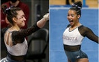 Ona Loper and Maya Hooten of Gophers gymnastics.