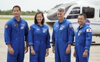SpaceX Crew 2 members, from left, European Space Agency astronaut Thomas Pesquet, NASA astronauts Megan McArthur and Shane Kimbrough and Japan Aerospa