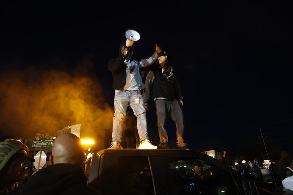 Several hundred people demonstrated Friday near the Brooklyn Center Police Department in response to the fatal police shooting of Daunte Wright.