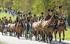The King's Troop Royal Horse Artillery arriving at Windsor Castle in preparation for the Gun Salute on the palace grounds, before the funeral of Bri