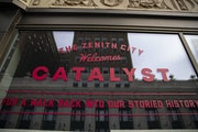 Advertisements for the Catalyst Film Festival have been plastered on the outside of the Zeitgeist in downtown Duluth, in hope of drawing industry atte