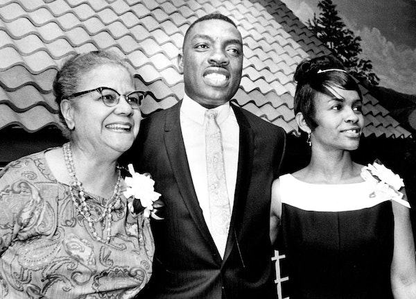 Anna Arnold Hedgeman, left, appeared in 1967 with the Rev. and Mrs. Stanley King, who helped found Sabathani Baptist Church. Hedgeman rubbed elbows wi