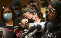 Katie Wright, whose son Daunte Wright was shot and killed by a Brooklyn Center police officer, was overcome by emotion during a news conference Friday