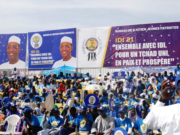 Supporters of Chadian President Idriss Deby Itno gather for a rally in N'djamena, Chad, Friday April 9, 2021. The State Department on Saturday order