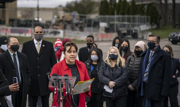 Senator Patricia Torres with other members of the Senate People of Color and Indigenous spoke at a press conference outside of the Brooklyn Center Pol