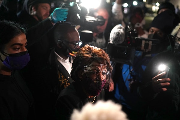 California congresswoman Maxine Waters briefly visited a protest Saturday, April 17, outside the Brooklyn Center Police Department in response to the