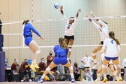 Gophers defenders Stephanie Samedy (10) and Shea Rubright attempted to block a shot by Pittsburgh's Kylee Levers on Sunday.