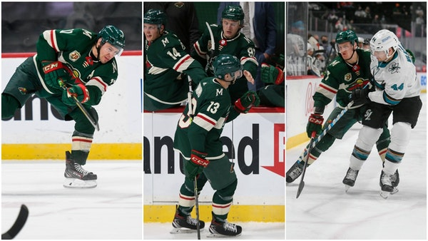From left, the line of Zach Parise, Nick Bonino and Nico Sturm has been a productive spark in the Wild's three-game winning streak.