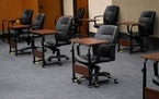 Jurors from these chairs will hear final arguments Monday in the Derek Chauvin murder trial.  Credit: David Joles/Star Tribune