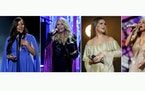 This combination photo shows Mickey Guyton, from left, Miranda Lambert, Maren Morris and Carrie Underwood performing at the 56th annual Academy of Cou