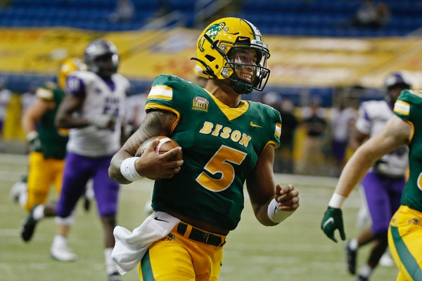 NDSU quarterback Trey Lance runs for a touchdown against Central Arkansas in the third quarter of an NCAA college football game Saturday, Oct. 3, 2020