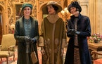 "Laura Carmichael, left, stars as Lady Hexham, Elizabeth McGovern as Lady Grantham and Michelle Dockery stars as Lady Mary Talbot in the 2019 film ""D"