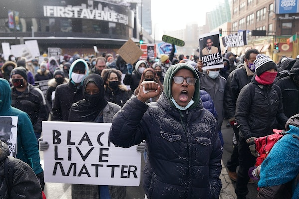 A Black Lives Matter protest in Minneapolis in January.