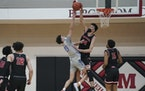 Chet Holmgren blocked a shot last month during a game between Minnehaha Academy and Minneapolis North.