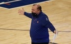 New York Knicks head coach Tom Thibodeau reacts to a call on Sunday.