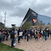 Students from Minneapolis schools gathered outside U.S. Bank Stadium on Monday afternoon as part of a statewide student walkout to protest against rac