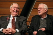 Walter Mondale sat on stage with former President Jimmy Carter during Mondale's 90th birthday party celebration in 2018. ANTHONY SOUFFLE • STAR TR