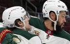 Wild left winger Jordan Greenway, right, celebrated his goal against the Coyotes with teammate Marcus Foligno during the second period Monday. It was