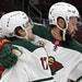 Minnesota Wild left wing Jordan Greenway, right, celebrates his goal against the Arizona Coyotes with Wild left wing Marcus Foligno (17) during the se