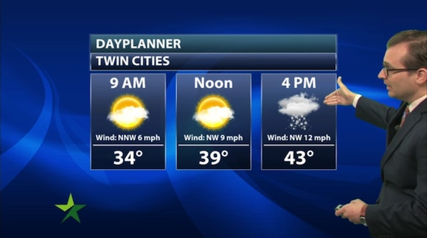 Morning forecast: Chilly, chance of PM flurries; high 43