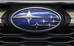 FILE - In this Feb. 14, 2019, file photo the Subaru logo on the front grill of a 2019 Subaru Impreza sedan is displayed at the 2019 Pittsburgh Interna